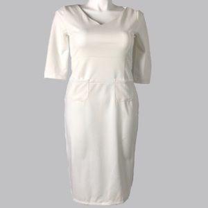 Fate White Zipper Back Bodycon 3/4 Sleeve Dress